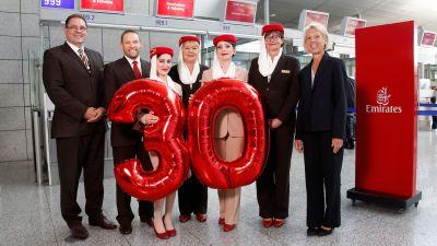 Emirates feiert 30 Jahre in Deutschland.