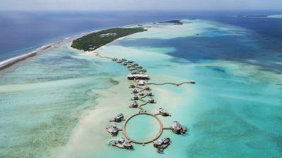 Soneva Jani auf dem Nonuu-Atoll: Schon der Anflug ist beeindruckend.