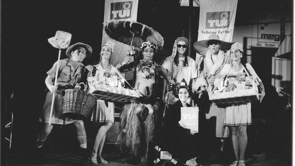 TUI summer party 1992. The tour operator thanked travel agencies with events on the fictional island of 'TUIlithi'. Some 4,500 agents came to the regional parties.