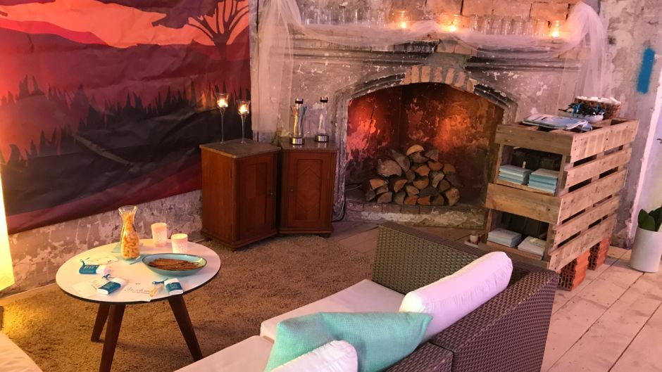 Cosy setting for an in-house sales event promoting honeymoon trips.