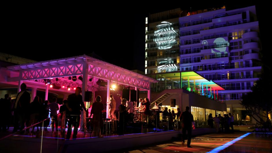 The new building was lit up in a colourful display.
