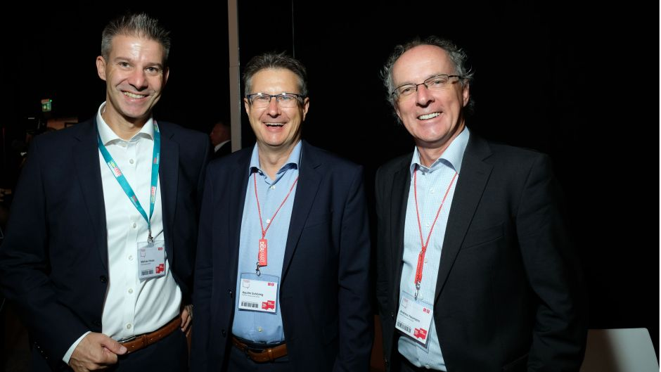 Mathias Hüske (Deutsche Bahn sales) with Aquilin Schöming (Derpart, centre) and Andreas Neumann (Derpart)
