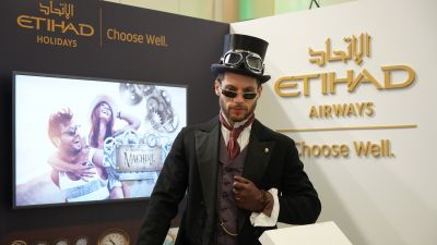 A shadesy character at the Etihad Airways stand