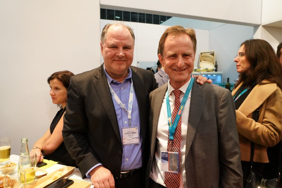 Celebrating at the FTI stand party: Dietmar Gunz (FTI Group CEO) with Condor's Paul Schwaiger
