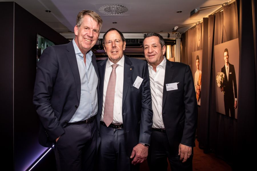 TUI CEO Fritz Joussen (left) with former TUI chief Ralf Corsten (centre) and Hamed El Chiaty (Deutsche Hospitality) at the Steigenberger Kitchen Party.