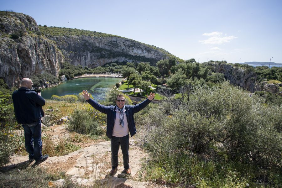 The sunken lake of Vouliagmeni, 24km from Athens, was a highlight for many, including travel agent Mikhail Kliteinikov.