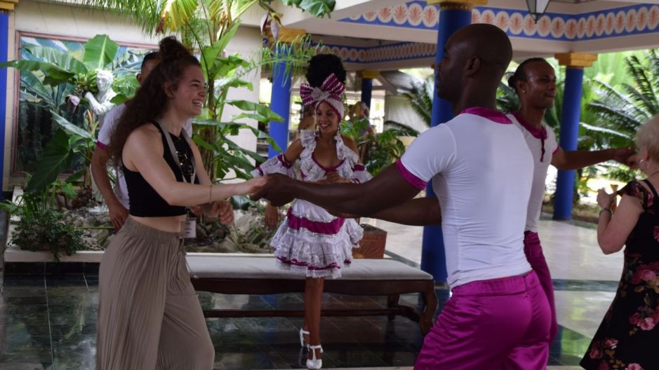 No boring hotel visits here. Musicians and dancers greeted the travel agents at nearly every hotel, and got them into the swing of things.