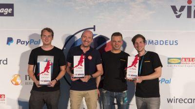 Tobias Schrott (Giggle, 3. Platz), Uwe Frers (Pincamp, 1. Platz) und Michael Carlin & Christoph Kähler (Motourismo, 2. Platz)