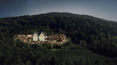 Das neue Resort liegt in Pinzolo im Skigebiet Madonna di Campiglio. Es verfügt über 88 Suiten sowie 22 Wellness Residenzen.