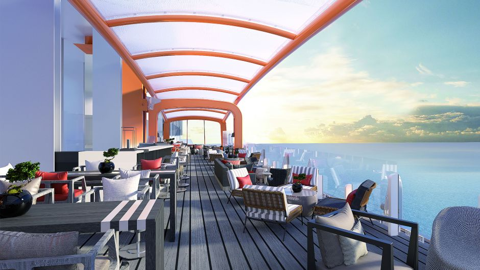 Dining on a Magic Carpet. An eye-catcher on the Celebrity Apex, which goes into service next year, and already on the Celebrity Edge is the moveable platform 13 storeys above the ocean that can be used as a restaurant, bar, stage or even docking-point for tender boats.