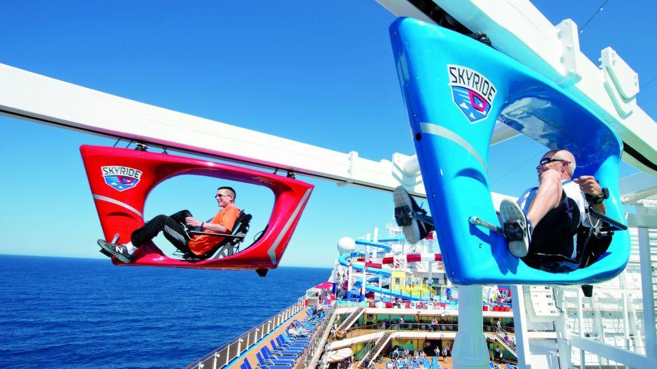 No fear of heights here. Guests on the new Carnival Panorama (in service from November 2019) can cycle 45 metres at up to 40km/h high above the ocean in the pedal-powered Skyride hanging cabin. The Skyride is already in operation on the Carnival Vista.