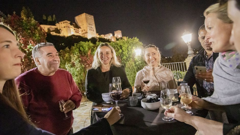 Salud! German travel agents enjoy tapas with views of the Alhambra