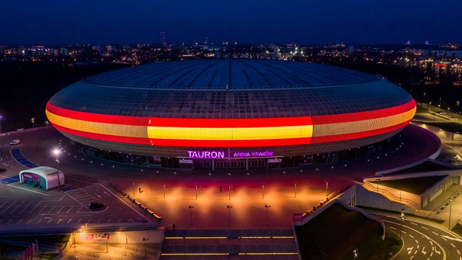 Solidarity with Spain: the Tauron Arena in Kraków, Poland.