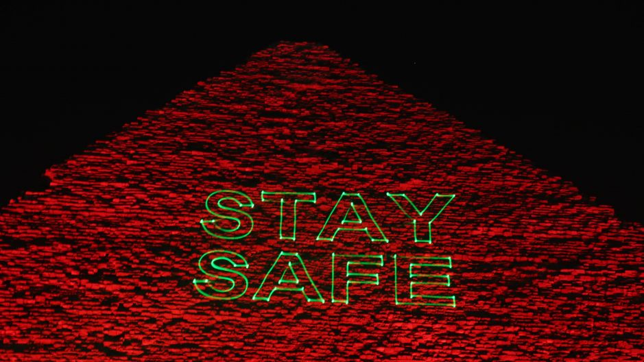 """Stay safe"": the Great Pyramid of Cheops in Giza, Egypt."