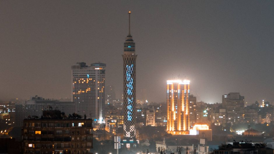 """Stay safe"" in Arabic: the Cairo Tower in Egypt's capital."