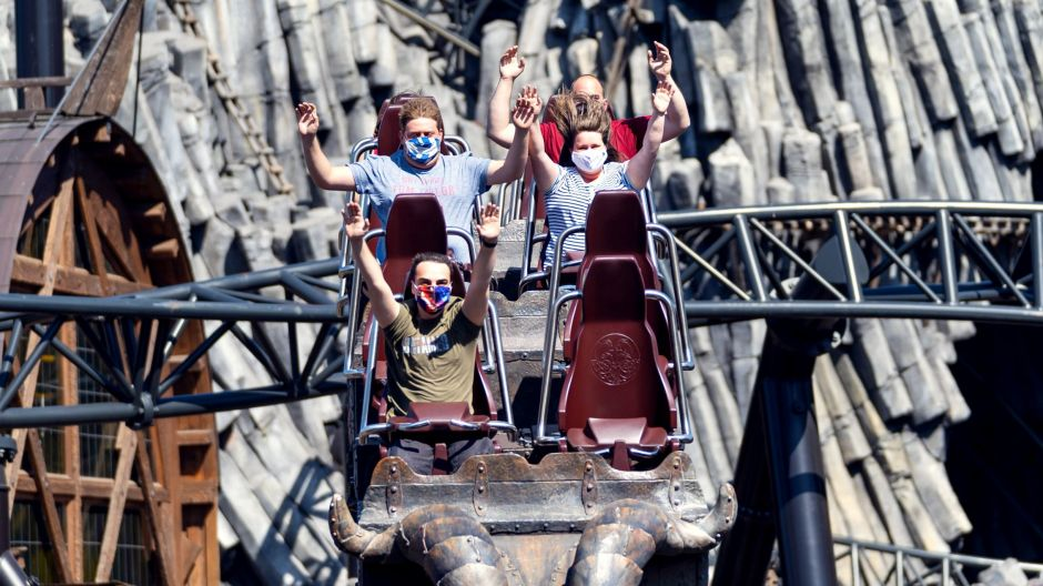 New hygiene regulations and distancing rules are the new norm in theme parks worldwide. That includes the roller coaster experience, here Taron located at Phantasialand in Germany.