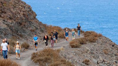 """Auf dem Weg zum """"Schwanz des Drachens"""": An der wilden Westküste führt die Wanderung ab La Aldea de San Nicolás zum """"Cola del Dragón""""."""