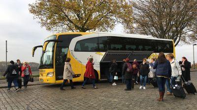 Ankunft an der Liegestelle der Arosa Aqua in Duisburg.