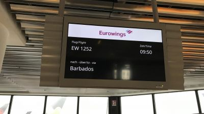 Los geht's: Eurowings fliegt die 27 Expis ab Frankfurt nach Barbados.