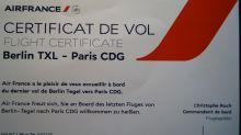 Bleibende Erinnerung: Air-France-Flugzertifikat des letzten Fluges TXL-CDG