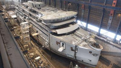 Die Minerva der britischen Reederei Swan Hellenic entsteht gerade auf der Helsinki Shipyard Oy.