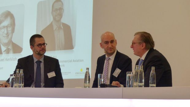 Lufthansa's Wilken Bormann (centre) and Munich Airport chief Michael Kerkloh (right) in discussion with moderator Jens Flottau (Aviation Week Network) at the European Airline Symposium.
