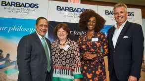 Billy Griffith (Barbados Tourism Marketing), Gabriela Ahrens (Lufthansa), Anita Nightingale (Barbados Tourism Marketing), Klaus Hildebrandt (fvw) at the fvw workshop conference in the Hilton Resort.
