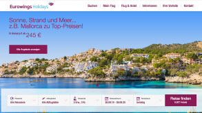 Website des Airlines-Veranstalters Eurowings Holidays