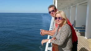 "Enjoying the ""new reality"" on board: travel agents Birgit and Matthias Bornath on the luxury liner Europa 2."