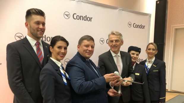 PGL chief Rafel Miczarski (centre left) with Condor CEO Ralf Teckentrup
