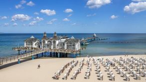 Germans are heading for coastal resorts such as Sellin (pictured) on the Baltic Sea island of Rügen this summer.