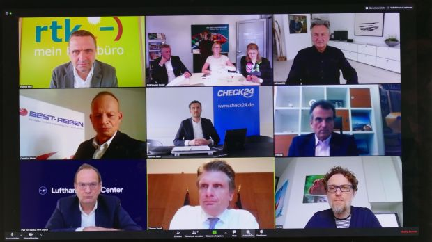 Meeting on a screen: German tourism chiefs during the fvw video conference.
