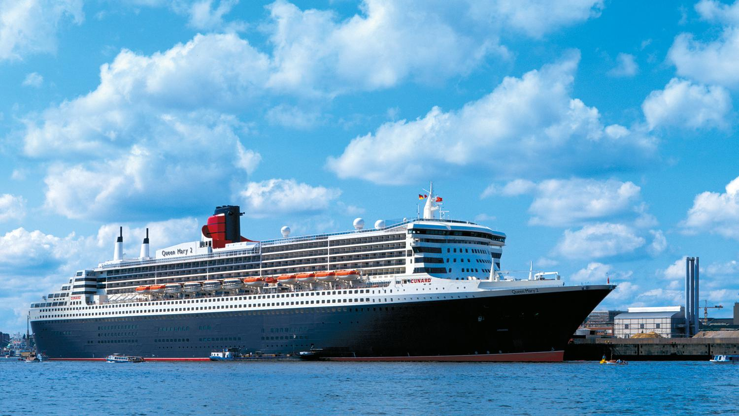 No cruises until July: Cunard's Queen Mary.